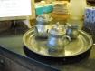 Set peltro vassoio lattiera teiera e zuccheriera